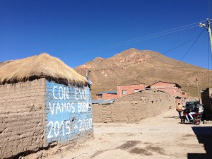 Pro Evo (Bolivian President) propaganda is popular in the countryside.