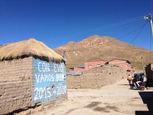 Pro Evo (Bolivian President) propaganda is popular in the countryside.